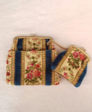 Conjunto bolso y monedero tela de tapiz