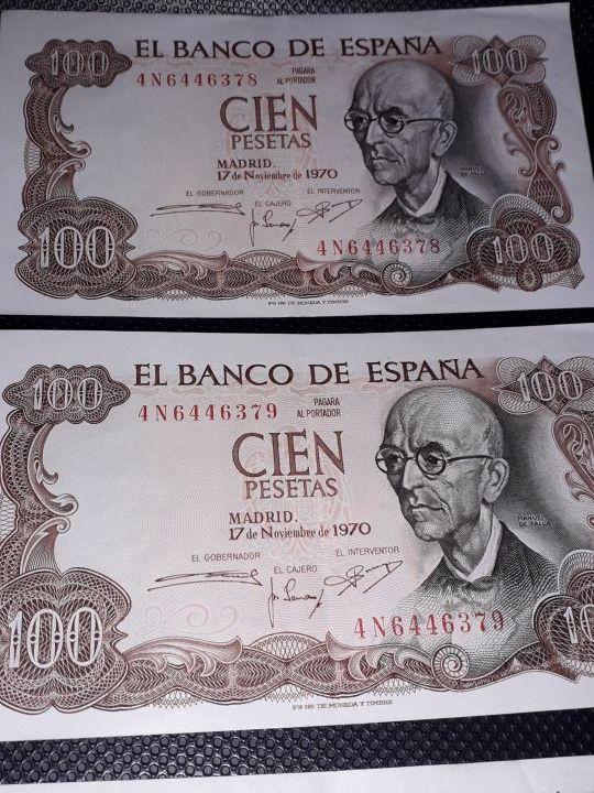Billetes Serie seguida Cien Pesetas 1970