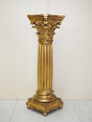 Antigua columna pedestal pan de oro