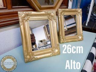 Espejo Barroco Dorado 26cm Alto Peana