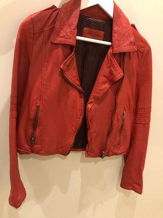 Por Cuero Chaqueta 10 Zara De Segunda Roja Mano n76v6BqYw