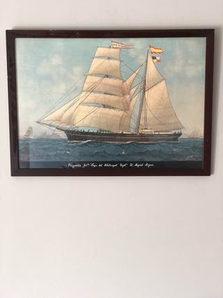 Cuadro velero vintage 38 x 58