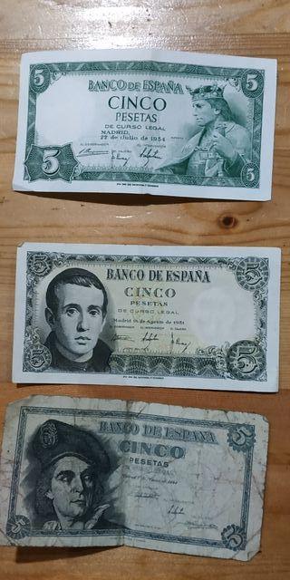 billetes 5 y 1 pesetas