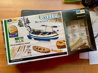 Maqueta barca de madera