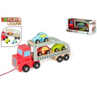 Camion remolque coches madera