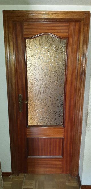 Puertas de madera con cristal de segunda mano en wallapop - Puertas correderas de cristal y madera ...