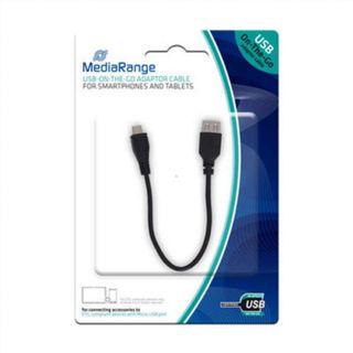 Mediarange - cable otg usb a microusb negro 20cm