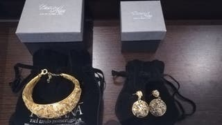 Conjunto plata chapado oro