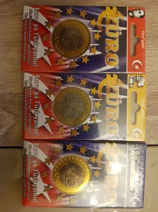 lote de 3 monedas de 3 Yuro de turquia