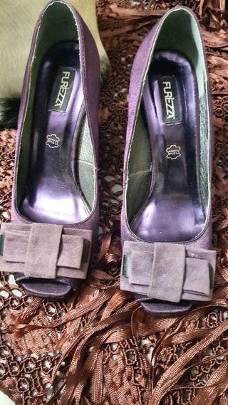 zapato morado raso de fiesta altos talla 38
