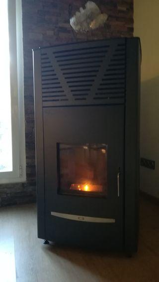 caldera estufa pellets y radiadores