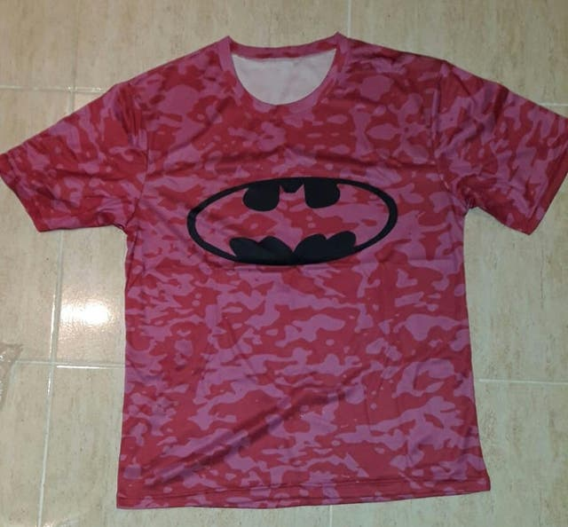 Camiseta deportiva informal camuflaje rosa BATMAN