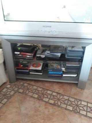 mesa para tv gris