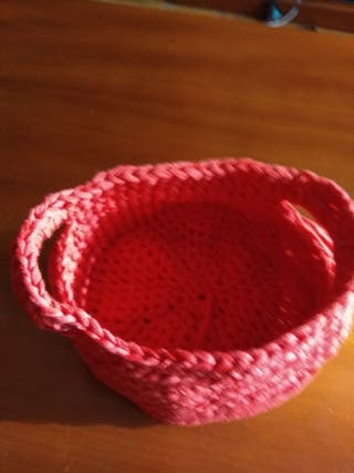 cesto trapillo hecho a mano crochet - ganchillo