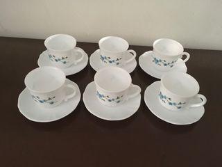 6 tazas con plato