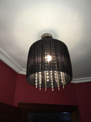 2 lamparas de 28 cm, como nuevas, organza negra