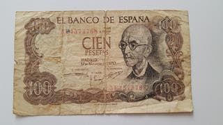 Billete de 100 pesetas de 1970