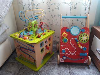 lote juguetes de madera para bebé cubo andador
