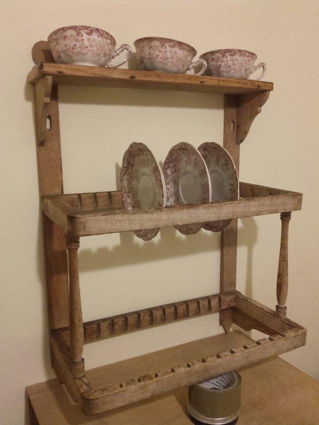 Antiguo Platero de madera de pared