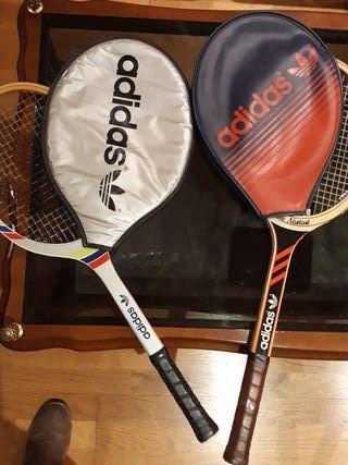 Raqueta tenis vintage Adidas original en madera