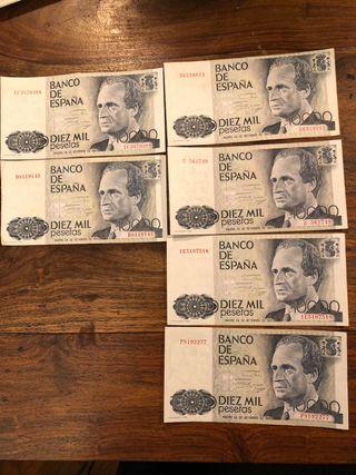 6 billetes de 10.000 Ptas. Impecables