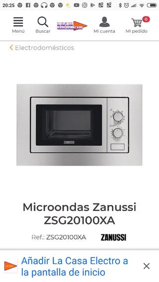 Microondas zanussi de segunda mano en wallapop - Microondas de encastrar ...