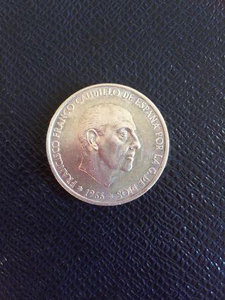 Moneda de 100 pesetas de plata-1966