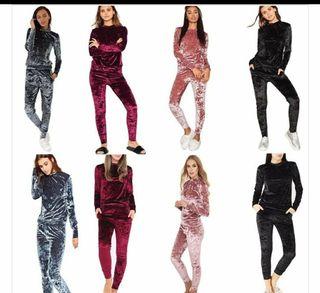 Ladies 2pc Crushed velvet set