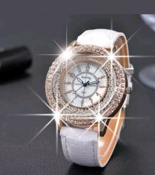 Ladies bling sparkle white watch