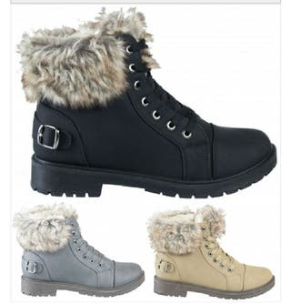 WOMENS LADIES WINTER ANKLE SHOES GRIP SOLE HIKING