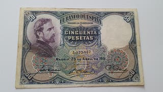 Billete de 50 pesetas de 1931