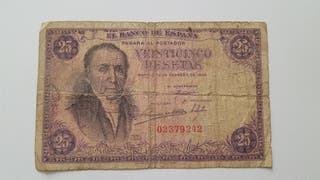 Billete sin serie de 25 pesetas de 1946