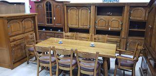 Salon Rustico macizo Vintage con 8 sillas