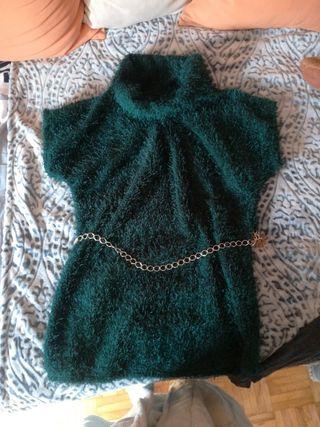 vestido/jersey largo verde