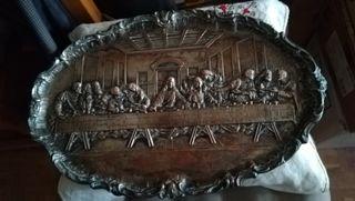 Antigua bandeja de cobre troquelado y plateado