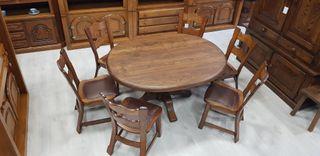 Mesa maciza Ovalizada con 6 sillas