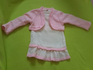 Vestido con chaqueta niña de 9 a 12 meses. Nuevo