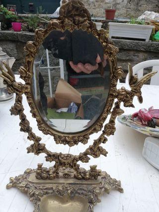 espejo tocador de bronce