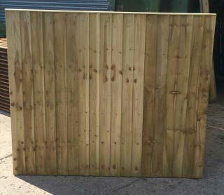 Green feather edge fence panels