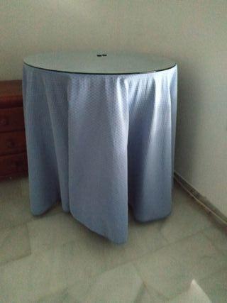 Mesa camilla mediana de 70cm vestida y con cristal