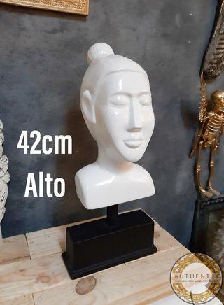 Cabeza Buda Ceramica Blanco 42cm Alto Peana Metal