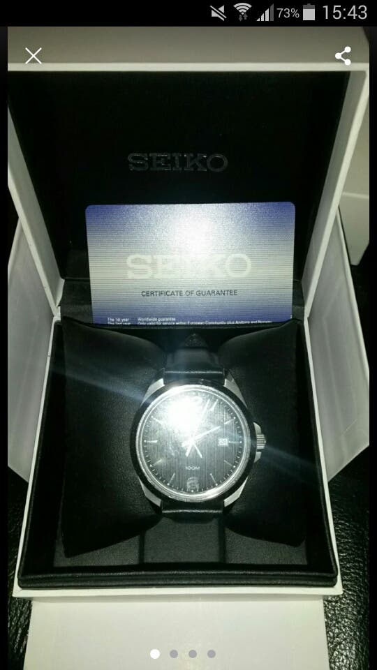 Mens Seiko Leather Strap Watch