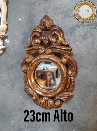 Espejo Barroco Cornucopia 23cm Alto Efecto Madera