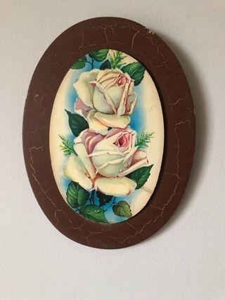 Cuadro ovalado rosas