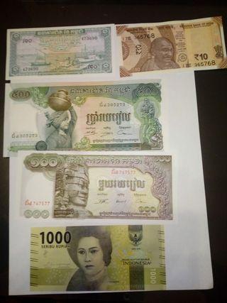 lote de billetes extranjeros todos nuevos