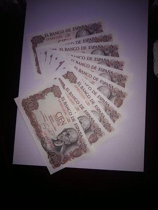 10 billetes correlativos de 100 pesetas sin uso