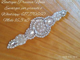 Aplique en plata para vestido de novia o fiesta
