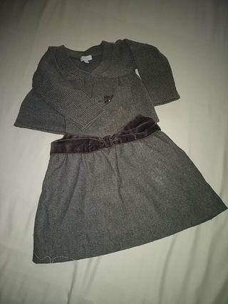 vestido 9 meses niña gris paño punto