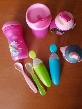 lote bebé cucharas y biberones