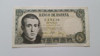 Billete de 5 pesetas dr 1951